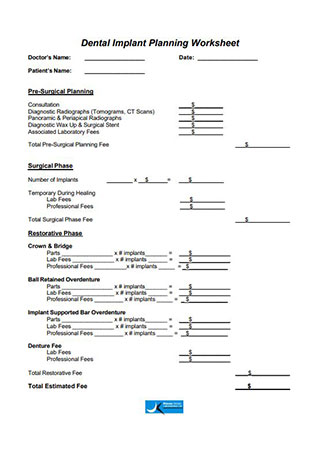 Dental Implant Planning Worksheet
